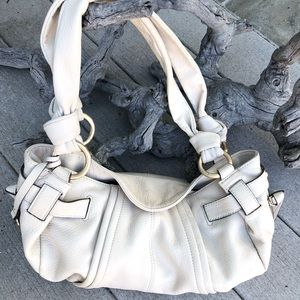 B MAKOWSKY Off White Leather Gold Hardware Tote